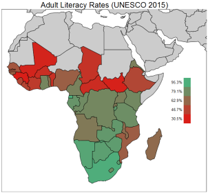 Choropleth Map of Literacy Rates in Sub Saharan Africa