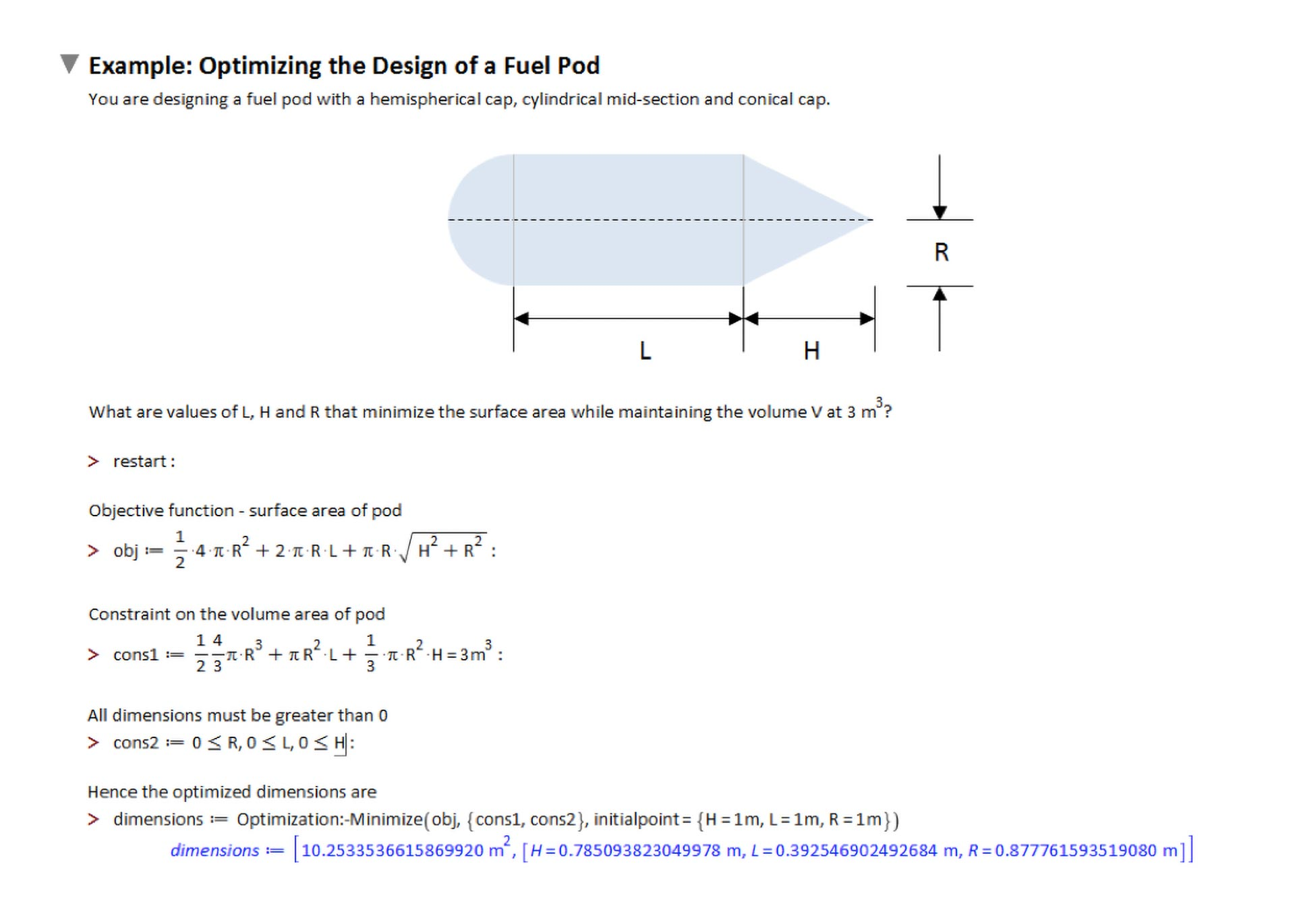 Optimization of a fuel pod