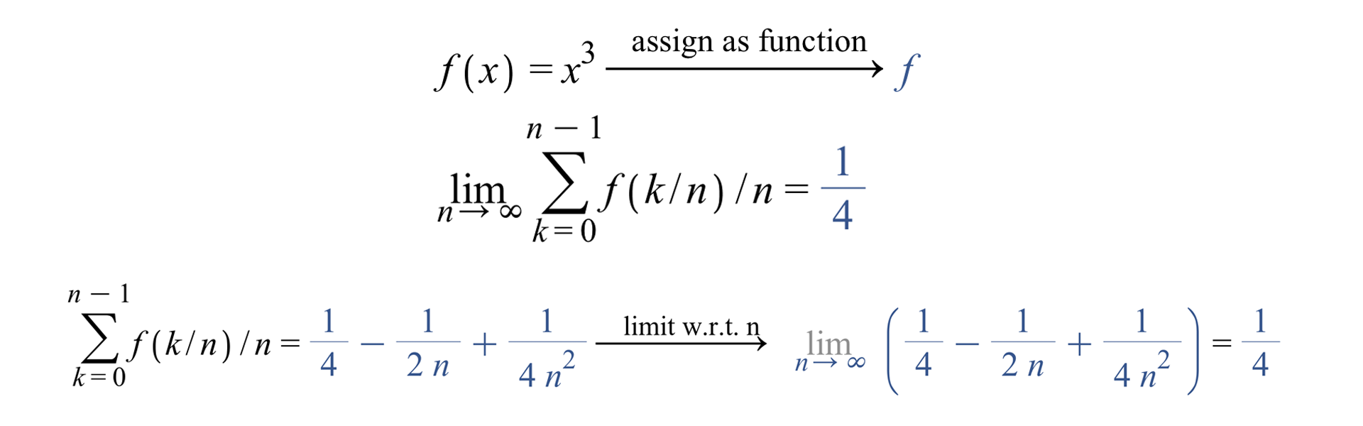 Syntax-free Maple implementation & Riemann sum and its limit