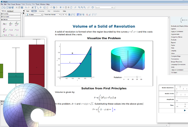 Technical document interface in Maple math software