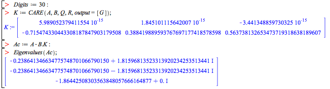 Algebraic Riccati Equation Solvers - New Features in Maple 15 – Technical Computing Software for ...