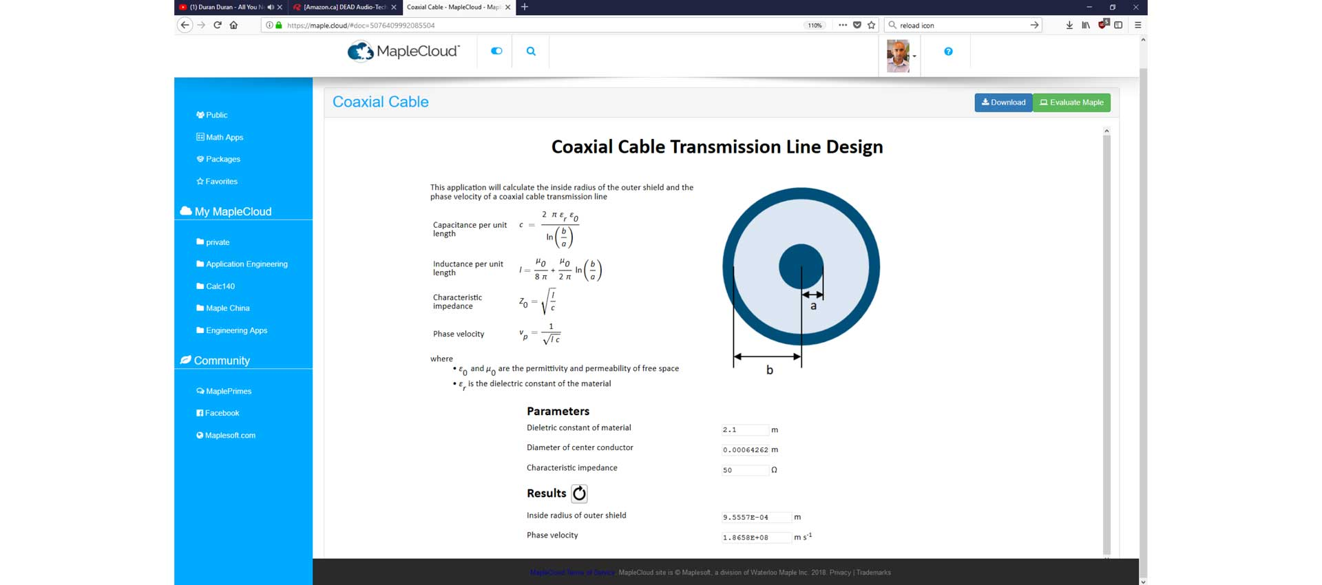 Web-Based coaxial cable transmission line design
