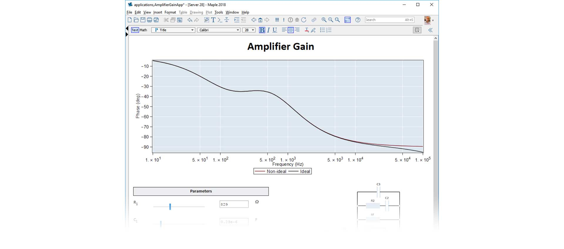Deployable application for analyzing the gain of an amplifier