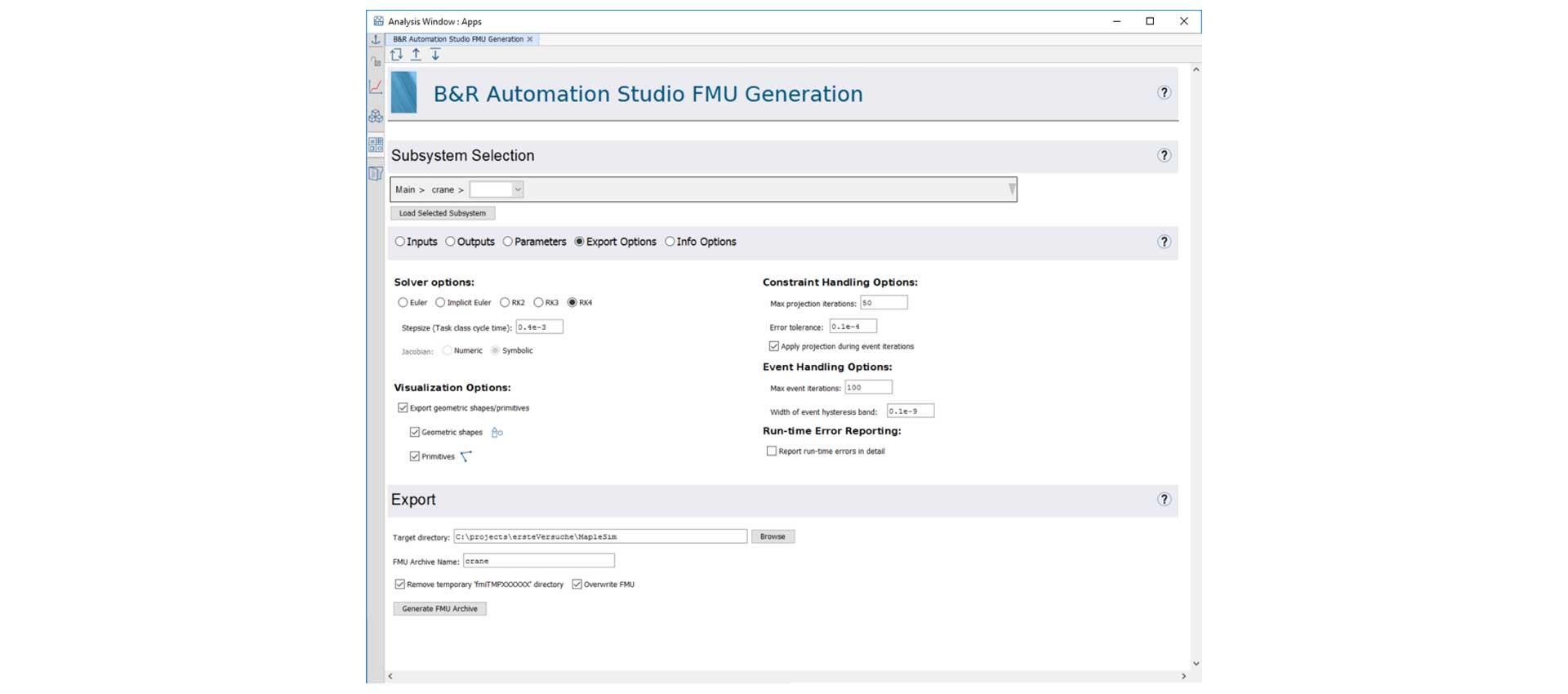 The B&R Automation Studio FMU Generation App.
