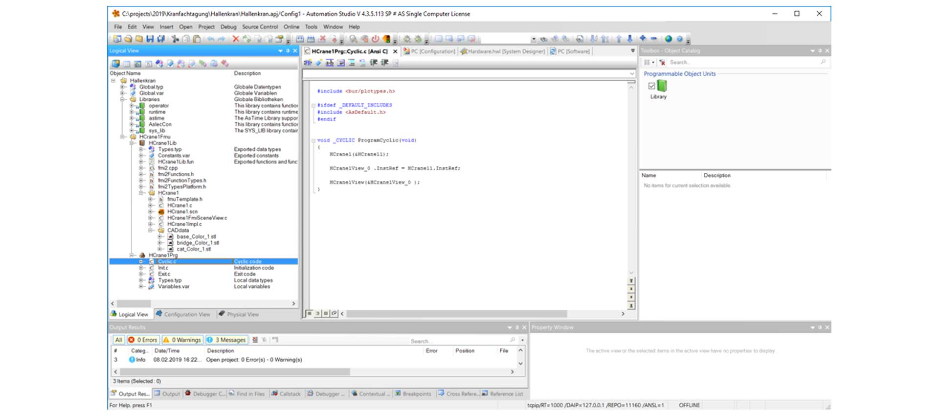 The FMU object from MapleSim included in B&R Automation Studio.