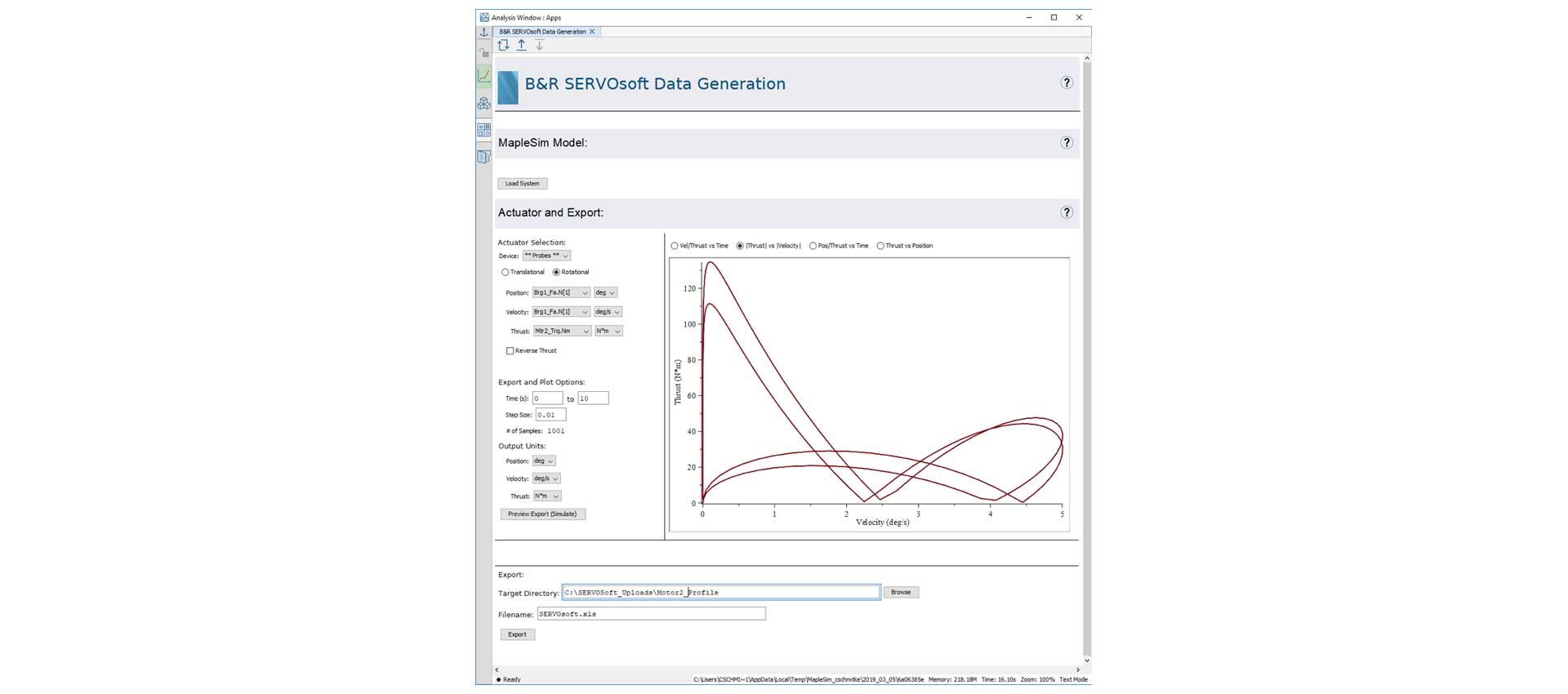 B&R SERVOSoft Data Generation App.